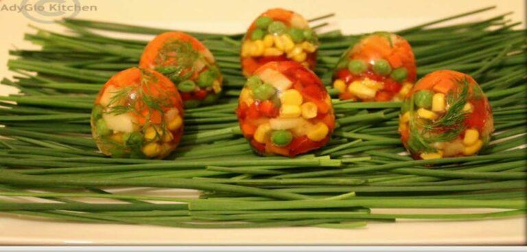 Aspic de legume in coaja de ou