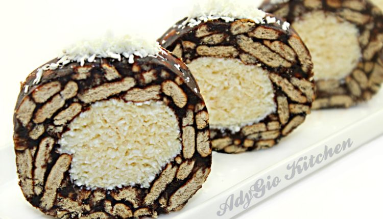 Salam de biscuiti raffaello , un salam de biscuiti cu lapt condensat si nuca de cocos