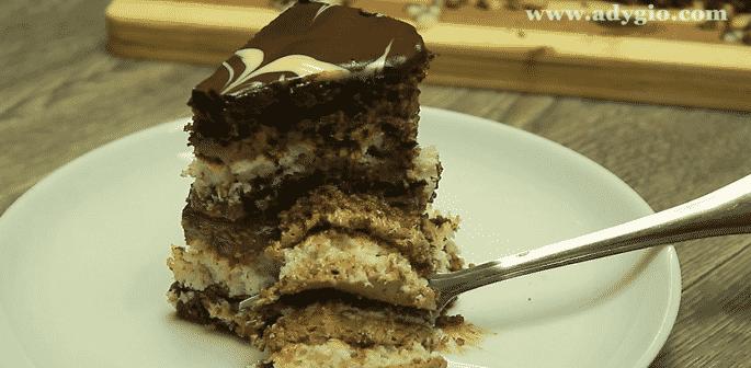 prajitura de vis cu nuca si ciocolata felie