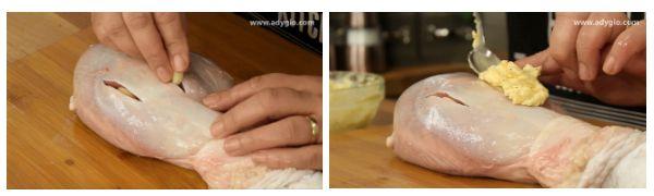 Pulpe de curcan la cuptor cu vin alb umplere buzunare cu unt aromat