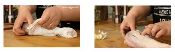 Pulpe de curcan la cuptor formare buzunare sub piele