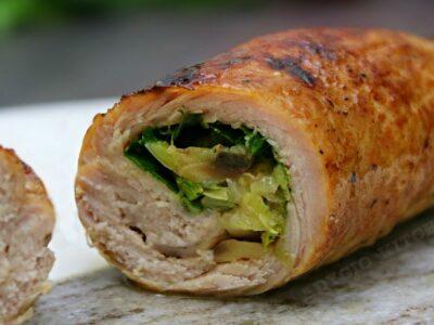 Cotlet de porc la cuptor umplut cu ciuperci si ceapa verde adygio kitchen