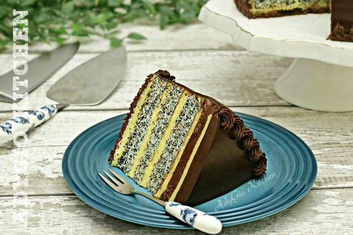 Tort Tosca cu crema de vanilie si blat cu mac si cafea , tort inspirat din reteta prajiturii Tosca