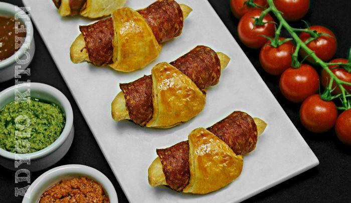 Cornulete aperitiv cu salam sau prosciutto , una din cele mai bune retete de aperitive rapide