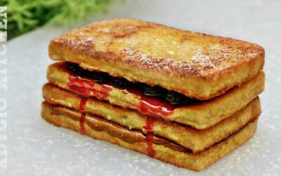 Friganele sau paine in ou cu nutella si dulceata , reteta de french toast